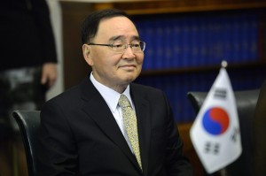 File picture shows South Korean Prime Minister Chung Hong-won at a meeting at the Finnish Parliament in Helsinki