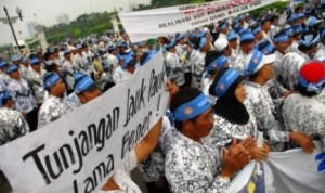 Tunjangan profesi macet, guru demo. Foto: www.republika.co.id