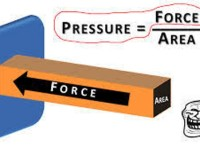 Gaya berbanding lurus dengan tekanan dan berbanding terbalik dengan area (gambar : anggavantyo.wordpress.com)