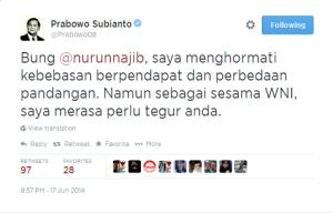 Tanggapan Pak Prabowo