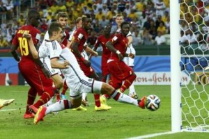 Germany's Klose taps the ball in to score against Ghana during their 2014 World Cup Group G soccer match at the Castelao arena in Fortaleza