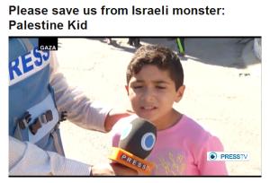 Bocah Palestina saat diwawancara