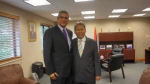 Pertemuan Duta Besar RI, Budi Bowoleksono dengan Duta Besar Palestina, Maen Rashid Areikat di Kedutaan Besar Palestina di Washington DC, Senin (21/7/2014).  Foto: Tribunnews