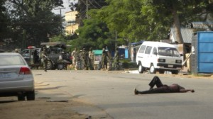 A protester is gunned down by Nigerian military forces during a rally marking International Quds Day in Zaria, Nigeria, on July 25, 2014//Press TV