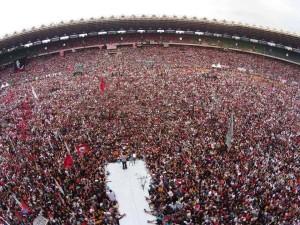 """""""Konser Salam 2 Jari Menuju Kemenangan Jokowi-JK"""" (foto: kompas)"""