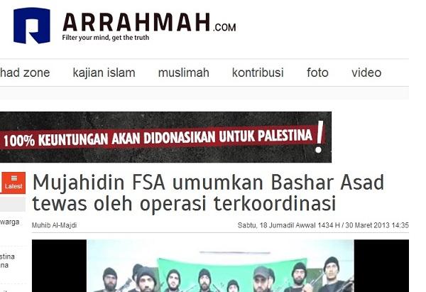 Arrahmah, 30 Maret 2013 Sebut FSA sebagai Mujahidin