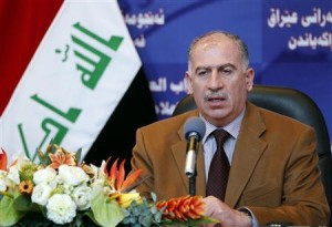 Iraqi parliament speaker Osama al-Nujaifi speaks during a news conference in Baghdad