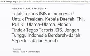 Petisi Tolak ISIS