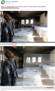 Keterangan palsu dari Syria Care Indonesia, klik untuk memperbesar. Sumber foto: Berita Harian Suriah