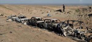 تدمير رتل من 200 عجلة لداعش في طريقه الى سامراء+فيديو