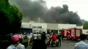 kebakaran pabrik cina
