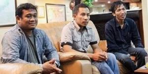 Dari kiri ke kanan adalah Ridwan Nawing, Mujahiddin, dan Supriyadi dari Ikatan Welder Bontang/kompas.com