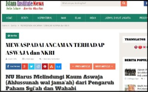 Artikel yang dirilis Islam Institute, klik untuk memperbesar