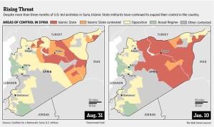 Laporan Wall Street Journal: sejak serangan udara AS, ISIS mengontrol wilayah lebih luas