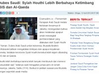 Klaim Arab Saudi: Ansarullah lebih berbahaya daripada ISIS dan Al-Qaeda
