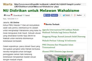 NU didirikan untuk melawan Wahabi