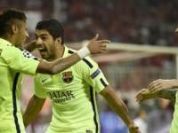 Neymar, Luis Suarez, dan Lionel Messi/AFP