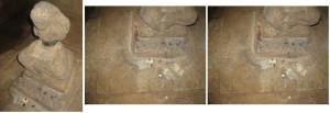 kondisi bagian dalam Candi Cangkuang dan arca Siwa yang rusak (foto: Sofia)