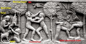 relief di Candi Borobudur yang melukiskan adegan Qabil-Habil