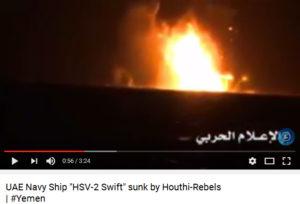 Kapal perang Uni Emirat Arab dirudal oleh pasukan Ansarullah (Houthi) di Yaman.