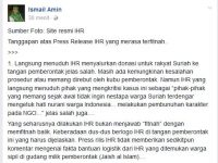 Tanggapan 'Jleb' Netizen Atas Press Rilis IHR