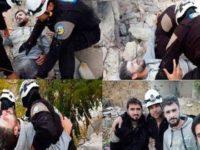 Salah satu foto rekayasa yang dibuat oleh White Helmet yang menggambarkan korban serangan pemerintah Suriah.