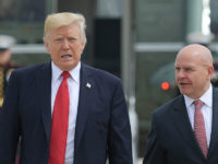 US President Donald Trump and National Security Advisor H. R. McMaster board Air Force One before departing from Andrews Air Force Base for Miami, Florida on June 16, 2017. / AFP PHOTO / MANDEL NGAN        (Photo credit should read MANDEL NGAN/AFP/Getty Images)