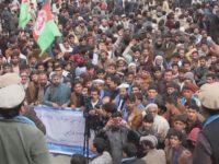 Potret gelombang demonstrasi di Pakistan pada Selasa kemarin (19/2).
