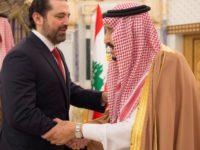 PM Lebanon saat berjabat tangan dengan Raja Saudi, Salman bin Abdul Aziz di Riyadh pada 28 Februari.