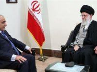 PM Irak, Abdul Mahdi, saat bertemu dengan Ayatullah Khamenei pada Sabtu kemarin (6/4). Sumber: Presstv.