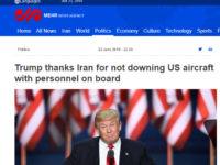 Trump Puji Iran Karena Tidak Menembak Pesawat Berawak AS