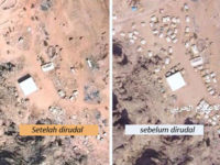 Foto yang dirilis oleh biro media Pusat Komando Operasi Yaman ini memperlihatkan pangkalan militer Saudi di Najran sebelum dan setelah digempur pasukan Yaman dengan rudal balistik Badr-F pada Juli 2019.