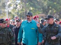 Venezuela's President Nicolas Maduro speaks with Venezuela's Defense Minister Vladimir Padrino Lopez and Remigio Ceballos Strategic Operational Commander of the Bolivarian National Armed Forces, during a military exercise in Valencia, Venezuela January 27, 2019. Photo: Miraflores Palace/Handout via Reuters